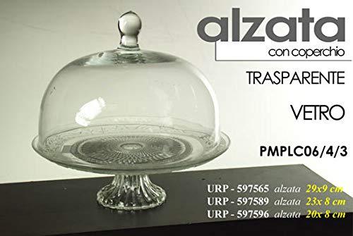 Gicos Alzata Porta Torta Dolci in Vetro Trasparente con Coperchio 20 * 8 cm URP-597596