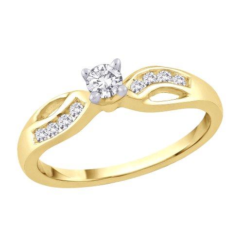 KATARINA 14K Yellow Gold, Semi Mount Diamond Engagement Ring (1/4 cttw) (Color-GH, Clarity-I1)