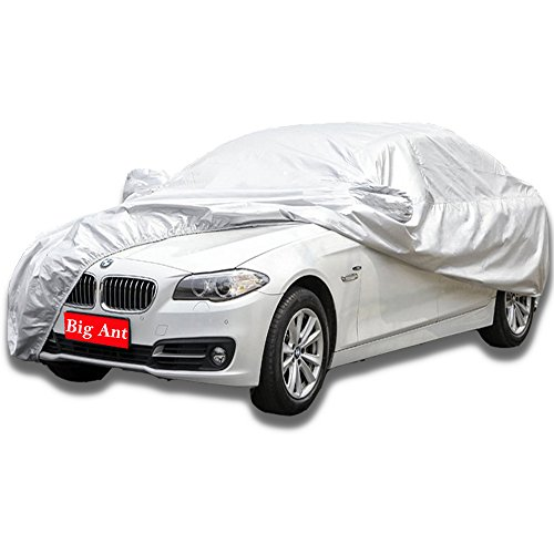 Big Ant Breathable Car Cover-Waterproof Full Size Sedan Cover Custom Fit Sedan Up to 190 Inches-Sliver
