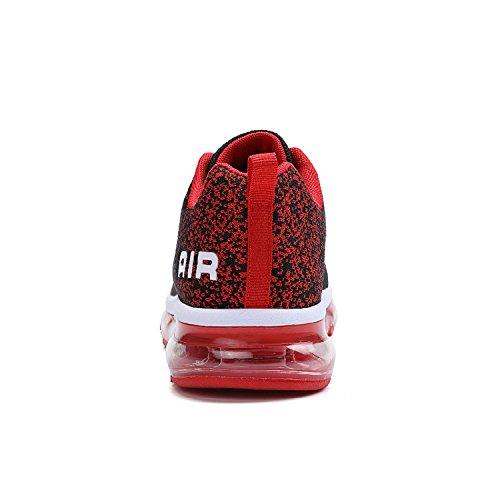 tqgold Unisex Herren Damen Sportschuhe Laufschuhe mit Luftpolster Turnschuhe Profilsohle Sneakers Leichte Schuhe Schwarz Rot