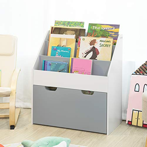 Haotian KMB17-HG, Children Kids Bookcase with Drawer and Wheels,Book Shelf Storage Display Rack Organizer Holder