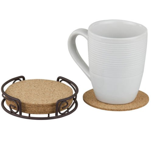 (Bronze & All Natural Cork Drinking Glass Cup Coaster Set of 6)