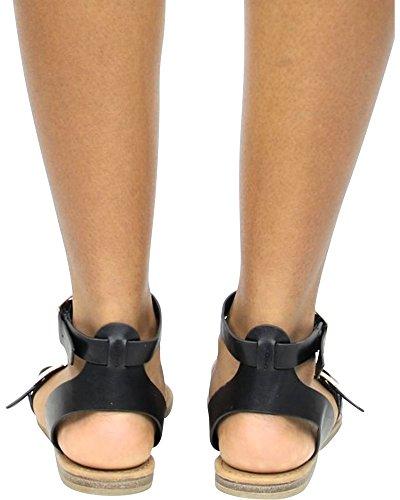 Sandali Da Donna Con Fibbie Gladiatore (disponibili In 3 Colori) Nero