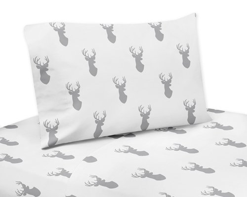 Sweet Jojo Designs 3-Piece Twin Sheet Set for Grey and White Woodland Deer Bedding Collection