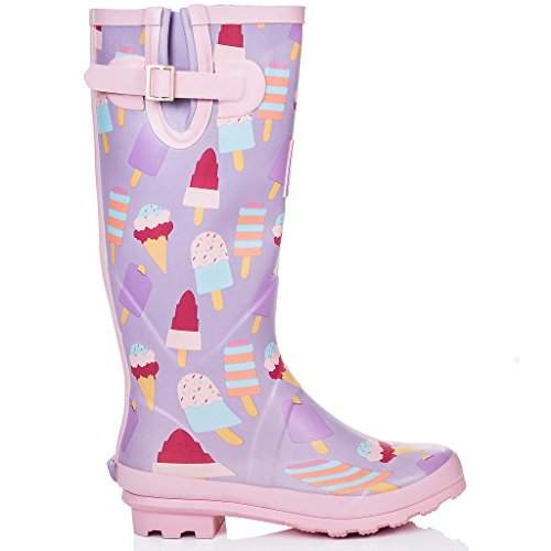 Festival Ice Adjustable Wellies Women's Cream Boots Rain Buckle Spylovebuy Flat IGLOO zXEnqpw1P