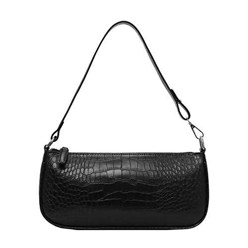 Retro Alligator Pattern Women Flap Handbags 2019 New PU Leather Casual Solid Zipper Shoulder Bags,Black
