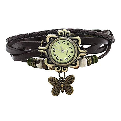 Pocciol Brown Retro Weave Wrap Lady Bead Butterfly Dangle Bracelet Bangle Quartz Wrist Watch (Black) by Pocciol Cheap-Nice Watch (Image #3)