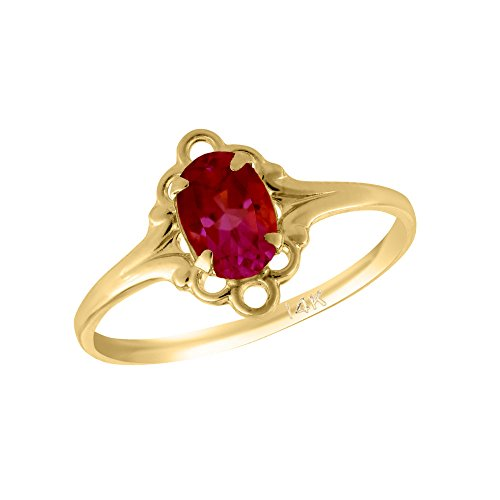 Girl 14K Yellow Gold Oval Shape January Birthstone Genuine Garnet Ring (size 5 1/2) by Loveivy