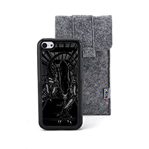 Euclid+ -Black Alien Embossed Design Style Plastic+TPU Case Cover for Apple iPhone 5C with Non Woven Packing Bag