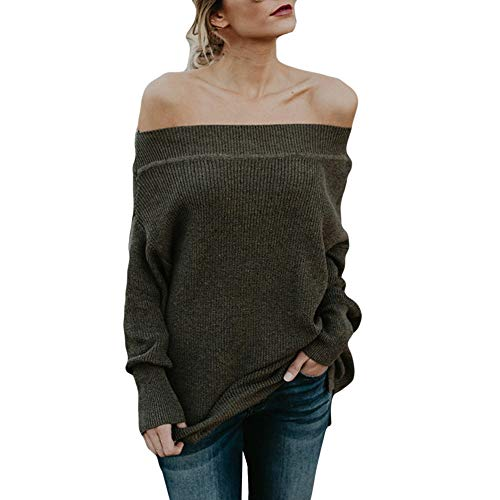 XOWRTE Women's Off Shoulder Hole Oversized Long Sleeve Knit Sweater Pullover Tops -