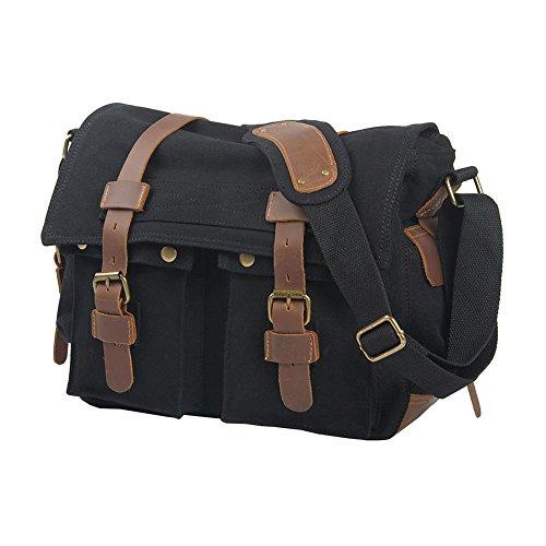 Shoulder Messenger Bags Sports Negro Bag VRIKOO School Casual Black Military Crossbody Satchel Vintage Canvas Carbon xgxwqCYp