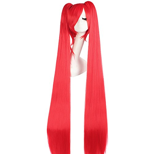 MapofBeauty 2 Ponytails Straight Long Party Costume 120cm Cosplay Wig (Red) (Red Ponytail Wig)