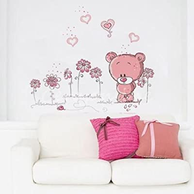 Removable Pink Bear Wall Sticker Home Docor Nursery Girl Kid Room Baby Wallpaper
