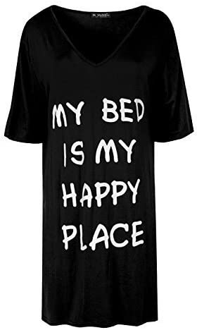 Womens Ladies My Bed Is My Happy Place V Neck Baggy Oversize Mini PJ Shirt Dress