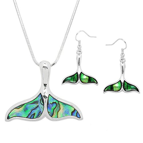 (Lola Bella Gifts Abalone Whale Tail Necklace and Earrings Set with Gift)
