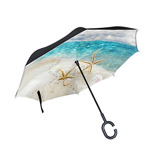 Reverse Umbrella Beach Starfish Fantastic Windproof Anti-UV for Car Outdoor Use