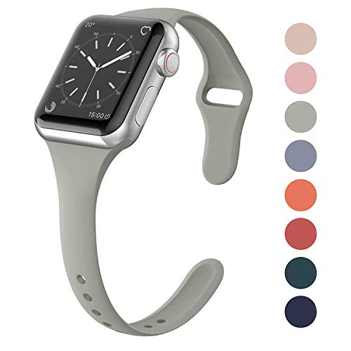 (SWEES Sport Silicone Band Compatible Apple Watch 38mm 40mm, Soft Silicone Slim Thin Narrow Small Replacement Strap for iWatch Series 4, Series 3, Series 2, Series 1 Nike+, Sport, Edition Women, Stone)