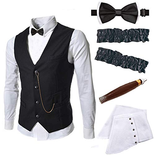 Mens 1920s Accessories Gangster Vest Set - Gangster Spats,Armbands,Pre Tied Bow Tie,Toy Fake Cigar,Black,S1 -