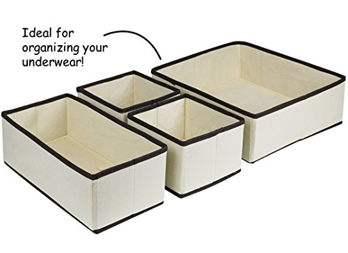 4 Peice Fabric Organizer - Foldable Storage Orgnizer, The Perfect Set To Organize Your Drawer - Works Great for Underwear (Classic Beige)