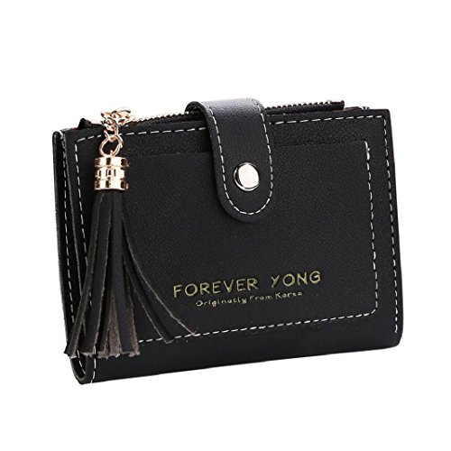 Coin Letters Women Black Purse Zipper Clearance Handbag Wallet Tassel ShenPr Holders Short Card OUnSw1x