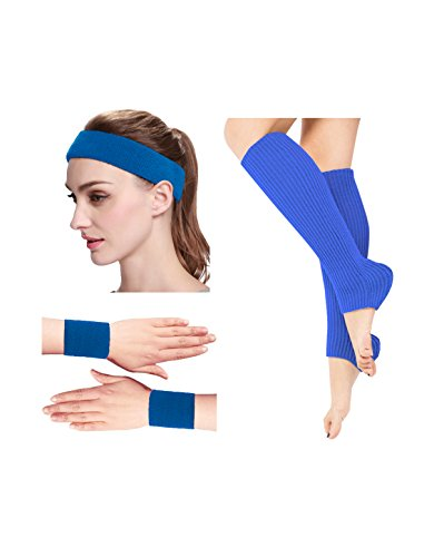 Kimberly's Knit Women 80s Neon Pink Running Headband Wristbands Leg Warmers Set (Free, Blue) ()