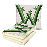 iPrint Quilt Dual-Use Pillow Letter W Bamboo Branches Forming Letter W Zen Spa Themed Alphabet Typeset Green Leaves Multifunctional Air-Conditioning Quilt Green White