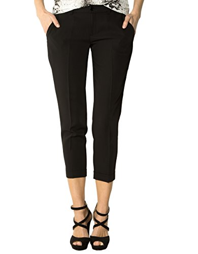 LIU JO Damen Hose Mikrofaser Pant Unifarben, Größe: 27, Farbe: Schwarz