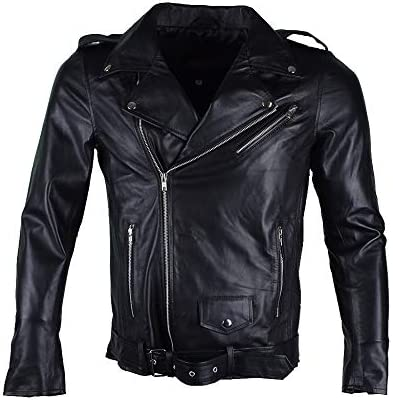 The Black Brando Biker Slim Fit Cafe Racer Real Leather Jacket for Men
