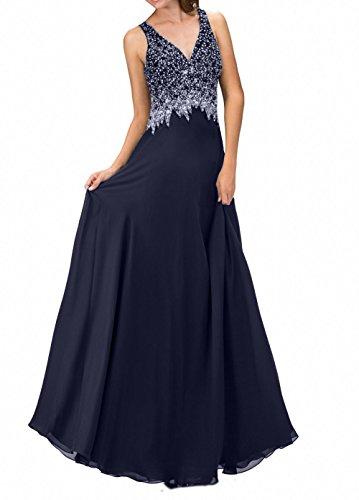 Navy Pailletten Abendkleider V Promkleider Damen Charmant Dunkel Rock Blau Tief Bodenlang ausschnitt Brautmutterkleider Chiffon wBqIB7XW