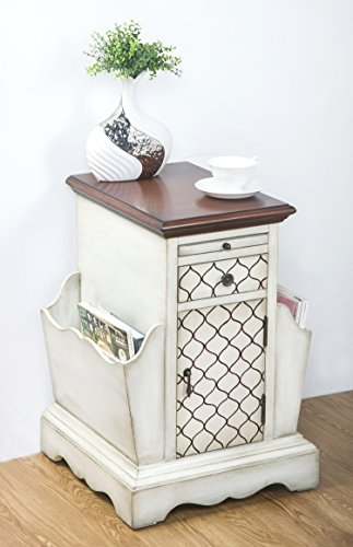 Merax Traditional Newspaper Desk Magazine organizer Solid wood Sofa Table ,Side Table, (ivory)
