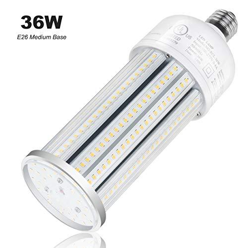 LED Corn Light Bulb 36W 5,220Lm 5,000K Medium Base Lamp Replace 80W/100W/125W MH/HPS/HID/CFL for Post Top Acorn Wall Pack Low Bay Cobra Head Flood Lighting UL DLC Listed