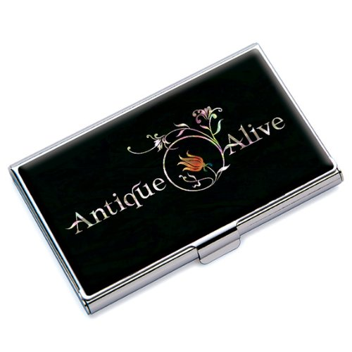 Personalized Custom RFID Blocking Protection Mother of Pearl Design with Your Name Company Logo Metal Black Business Credit Name Id Card Holder Case (Design Logo Company)