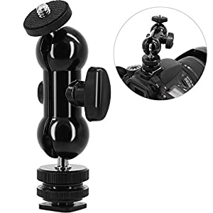 "Cool Ball head Double Ballhead Shoe Mount and 1/4"" Tripod Screw Multi-function for LCD Monitors,Led Light,Microphone,Camcorder"