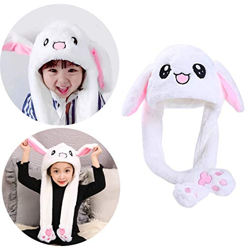 g Raster Costume Hat Funny Bunny Plush Hat Cap for Women Girls White ()