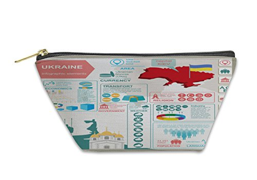 Gear New Accessory Zipper Pouch, Ukraine Infographics Statistical Data Sights Illustration, Large, 5997415GN