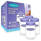 Lansinoh Breastmilk Storage Bottles, 5 Ounces, Pack of 4, Store Baby Milk in the Refrigerator, for Breastfeeding Moms, BPA and BPS Free, Nursing Essentials