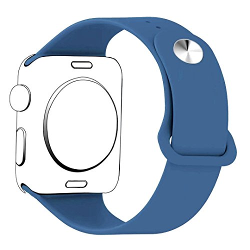 iMOMO 42mm Apple Watch Band,Soft Silicone Sport iWatch Band [3 Pieces for 2 Lengths] Large/Small Wrist Strap Replacement for Apple Watch 1 2 3 All Models 42mm - Denim Blue
