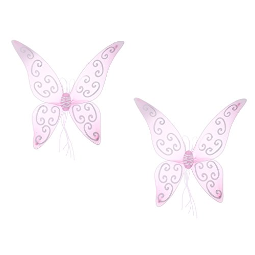 Prettyia Set of 2pcs Cute Ladies Girls Children Glitter Pink Butterfly Wing Angel Fairy Wings Princess Cosplay Party Costume Prop Gifts -