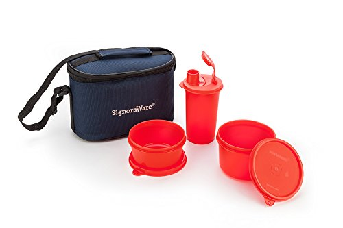 Signoraware Combo Small Executive Lunch with Bag, Deep Red