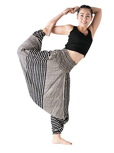 Bangkokpants Harem Pants Women's Hippie Bohemian Yoga Pants One Size - Plus Size (Line Black, One ()