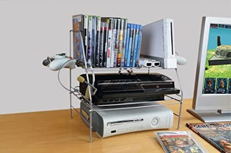 Atlantic Game Depot Wire Gaming Rack Acero Plata - Bandeja de escritorio (Acero, Plata, 260,4 x 593,9 x 381 mm (10.2 x 23.4 x 15