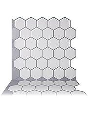 Tic Tac Tiles Schil en Stick Zelfklevende Verwijderbare Stok Op Keuken Backsplash Badkamer 3D Muursticker Behang Tegels in Hexa Mono Wit (10)