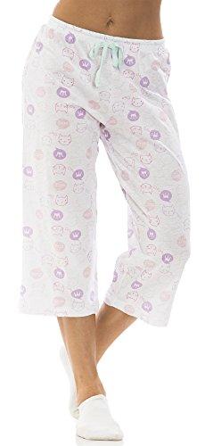 dollhouse (6686DH) Womans Novelty Print Cotton Jersey Capri Lounge Pant Size: Large In White Kitty (100)