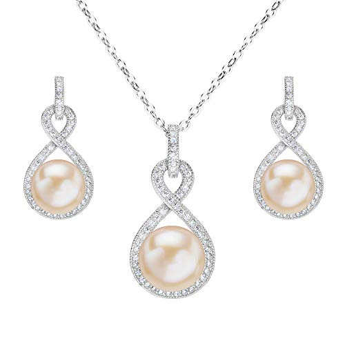 EleQueen 925 Sterling Silver CZ AAA Button Cream Freshwater Cultured Pearl Bridal Jewelry Necklace Earrings Set Cream