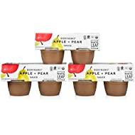 White Leaf Provisions' — 4oz. 12 Cups of Biodynamic Organic Apple+Pear Sauce Pack — Unsweetened Applesauce Snack Packs — Healthy Snack Cup for Kids & Adults