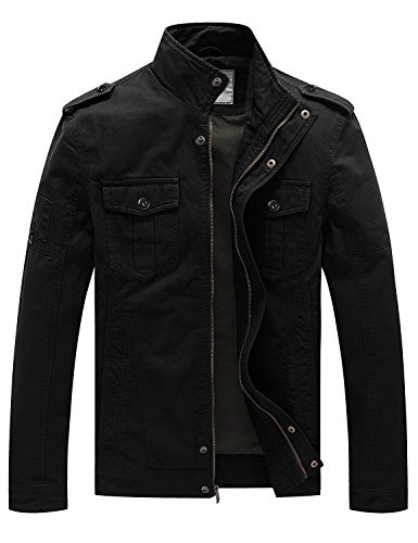 YIMANIE Men's Casual Cotton Military Jacket Stand Collar Lightweight Slim Bomber Jacket Windbreaker,Black,M