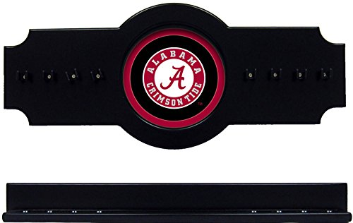 (wave NCAA Alabama Crimson Tide ALACRR400-B 2 pc Hanging Wall Pool Cue Stick Holder Rack - Black)