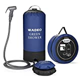 WADEO Camp Shower,Portable Outdoor Camping Shower Bag Pressure Shower with Foot Pump and Shower Nozzle for Beach Swim Travel Hiking Backpacking,Blue
