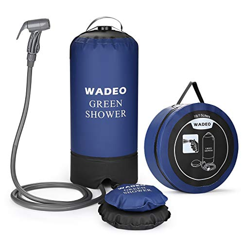 WADEO Camp Shower,Portable Outdoor Camping Shower Bag Pressure Shower with Foot Pump and Shower Nozzle for Beach Swim Travel Hiking Backpacking,Blue ()