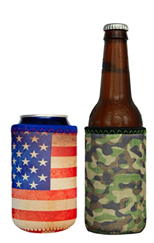 mini-koverz-1-neoprene-can-bottle-coolie-cooler-insulator-2-pack-choose-from-6-styles-american-flag-